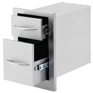 10.5 in. Wide Outdoor Kitchen Stainless Steel 2-Drawer Storage