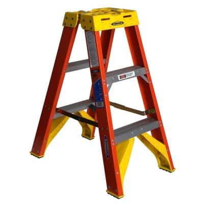 3 ft. Fiberglass Twin Step Ladder with 300 lb. Load Capacity Type IA Duty Rating