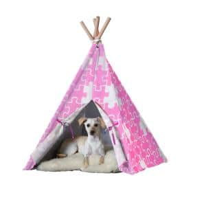 Large Pink Puzzle Pet Teepee