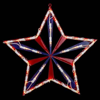14 in. Lighted Red White and Blue 4th of July Star Window Silhouette Decoration