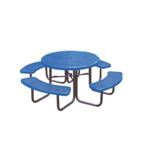 46 in. Blue Commercial Park Diamond Round Portable Table