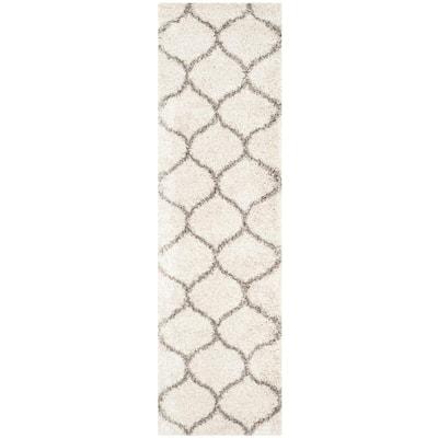 Hudson Shag Ivory/Gray 2 ft. x 16 ft. Geometric Trellis Runner Rug