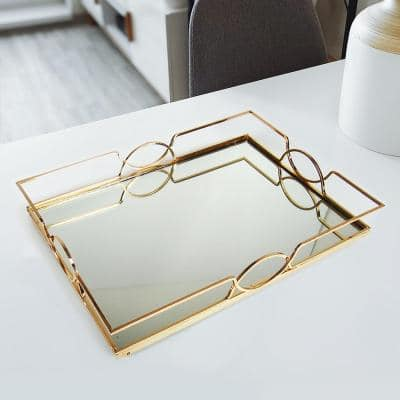 Art Deco Rectangle Metal Mirror Gold Decorative Tray 17in