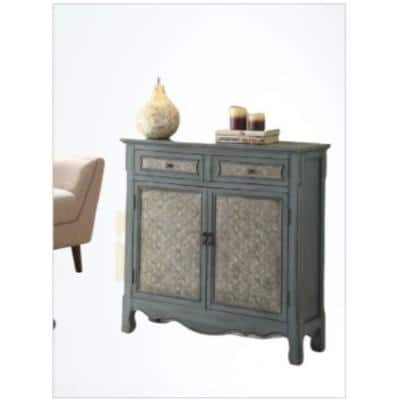 Amelia 36 in. Antique Blue Standard Rectangle Wood Console Table with Storage