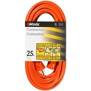 25 ft. 12/3 SJTW Outdoor Heavy-Duty Extension Cord, Orange