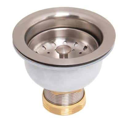 Stainless Steel and Brass Deep Dish Posi-Lock Basket Strainer Assembly in Stainless Steel