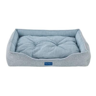 Arlo Medium Blue Plaid Dog Bed