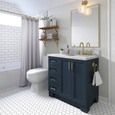 Taylor 37 in. W x 22 in. D Bath Vanity in Midnight Blue with Marble Vanity Top in Carrara White with White Basin