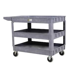 17.5 in. x 31 in. 3 Shelf Plastic Utility Cart