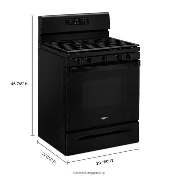 Whirlpool 5 0 Cu Ft Gas Range With Self Cleaning And Center Oval Burner In Black Wfg525s0jb The Home Depot