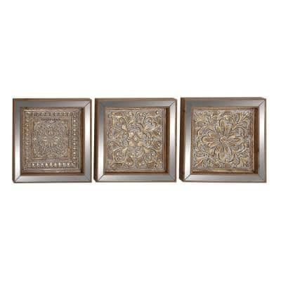 "16 in. x 16 in. ""Mirrored Floral and Leaf Patterns"" Framed Wooden Wall Art (Set of 3)"