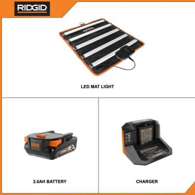 18-Volt Cordless LED Mat Light Kit with (1) 2.0 Ah Battery and Charger