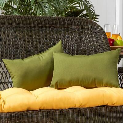 Solid Hunter Green Lumbar Outdoor Throw Pillow (2-Pack)