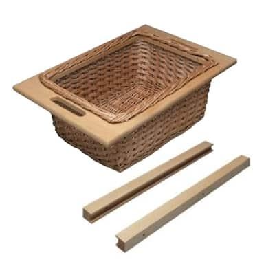 15 in. W Frameless Cabinet Beech Wicker Basket Organizer