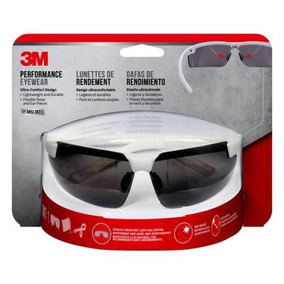 Metallic White Frame with Gray Anti-Fog Lenses Performance Safety Glasses