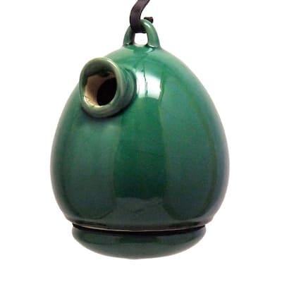 9 in. Green Ceramic Egg Shape Bird House Meadow