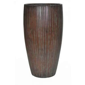 27 in. H Patina Green Composite Ribbed Planter