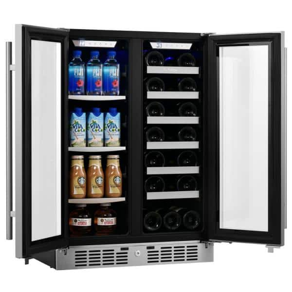 Titan Signature 24 In 64 Can And 20 Bottle French Door Stainless Steel Dual Zone Built In Beverage And Wine Cooler Ss Frbw6420dz The Home Depot