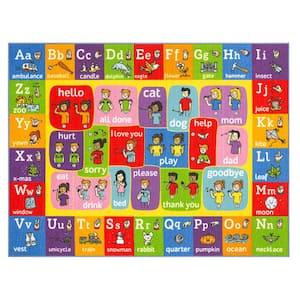 Multi-Color Kids Children Bedroom ABC Alphabet ASL Sign Language Educational Learning 5 ft. x 7 ft. Area Rug