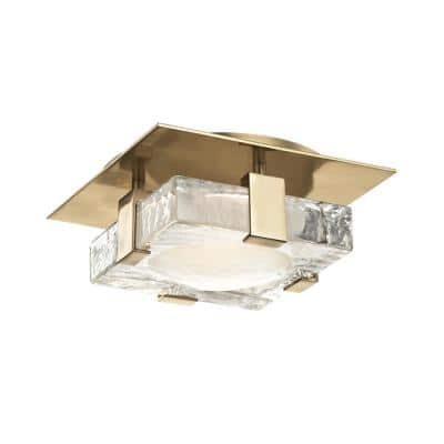 Bergen 8 in. 1-Light Aged Brass LED Wall Flush Mount with Etched Glass Shade