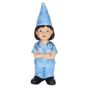 5 in. x 14 in. Hand Painted Nurse Nanc Gnome Garden Statue