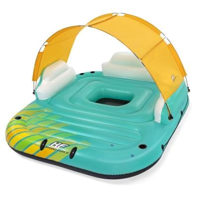 Hydro Force Sunny 5 Person Vinyl Inflatable Floating Island Lounge Raft, Blue