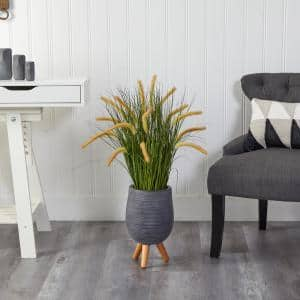 3 ft. Onion Grass Artificial Plant in Gray Planter with Stand