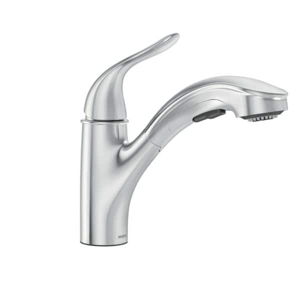 Moen Brecklyn Single Handle Pull Out Sprayer Kitchen Faucet With Power Clean In Chrome 87557 The Home Depot