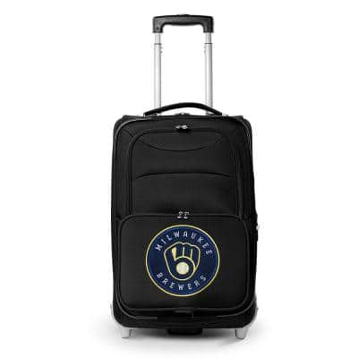 MLB Milwaukee Brewers  21 in. Black Carry-On Rolling Softside Suitcase