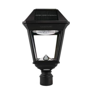 Imperial III Black Commercial Solar Post Light with Dual Color Temperature and 3 in. Fitter
