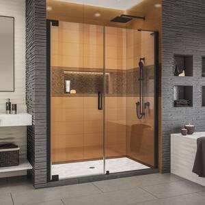 Elegance-LS 58-1/2 in. to 60-1/2 in. W x 72 in. H Frameless Pivot Shower Door in Satin Black