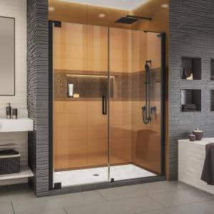 Elegance-LS 60-1/4 in. to 62-1/4 in. W x 72 in. H Frameless Pivot Shower Door in Satin Black