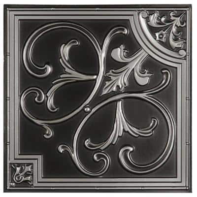 Madrid 2 ft. x 2 ft. Lay-in or Glue-up Ceiling Tile in Antique Silver (48 sq. ft. / case)