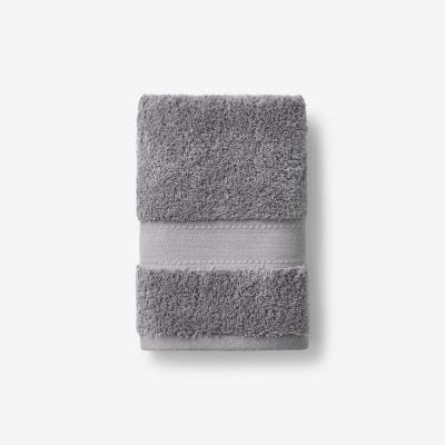 Cotton Cashmere Steel Gray Solid Hand Towel