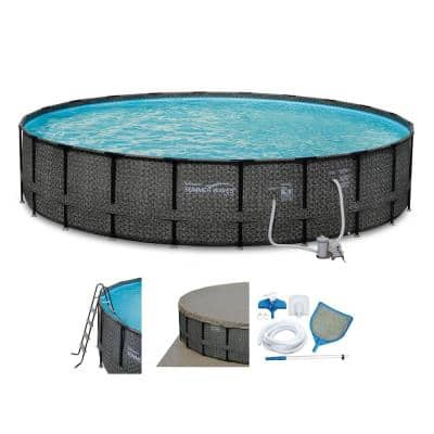 Elite Wicker Print Round 22 ft. x 52 in. Above Ground Frame Pool Set with Pump