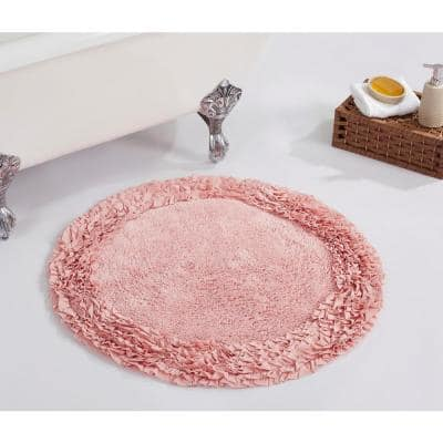 Shaggy Border Collection Pink 30 in. x 30 in. 100% Cotton Bath Rug