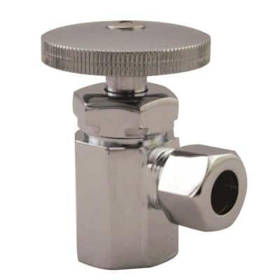 1/2 in. IPS Inlet with 3/8 in. Compression Outlet Round Handle Angle Stop Shut Off Valve, Polished Chrome