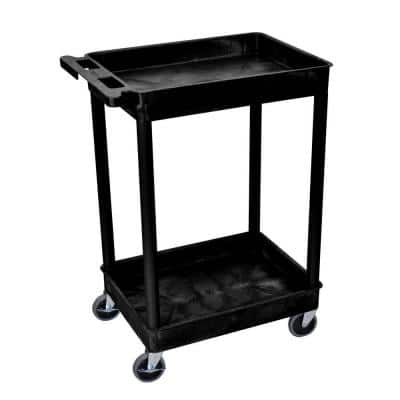 STC Series 18 in. W x 24 in. L 2-Tub Shelf Utility Cart, Black