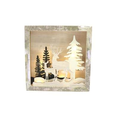 8 in. LED Chalet Christmas Shadow Box Scene