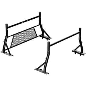 800 lbs. Capacity Non Drilling Steel Pickup Truck Rack with Removable Window Protector Headache Rack and Mounting Clamps