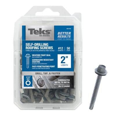 #12 x 2 in. External Hex Metallic Steel Washer Head Drill Point Roofing Screws (50-Pack)