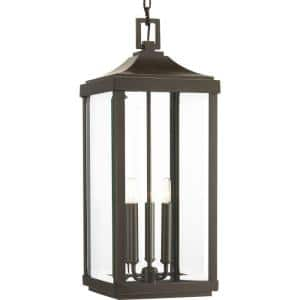 Gibbes Street Collection 3-Light Antique Bronze Clear Beveled Glass New Traditional Outdoor Hanging Lantern Light