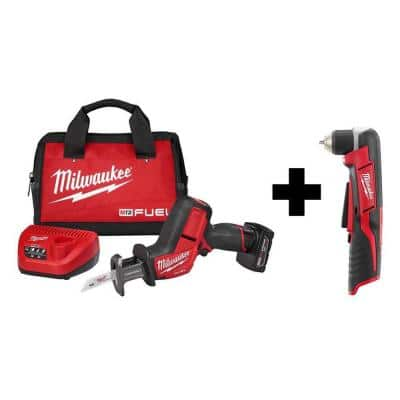 M12 FUEL 12-Volt Lithium-Ion Brushless Cordless HACKZALL Reciprocating Saw Kit with M12 3/8 in. Right Angle Drill