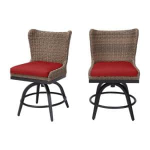 Hazelhurst Brown Wicker Outdoor Patio Swivel High Dining Chairs with CushionGuard Chili Red Cushions (2-Pack)
