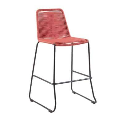 Shasta Armless 30 in. Outdoor UV Protected Metal and Brick Red Rope Stackable Barstool with Footrest