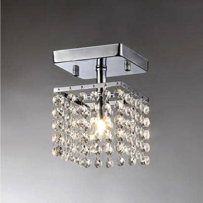 Jhea Chrome Indoor Crystal Chandelier with Shade