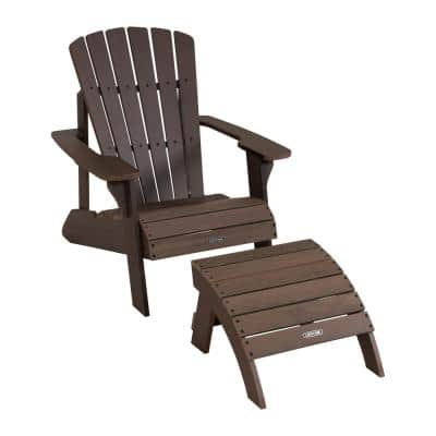 Rustic Brown Composite Adirondack Chair and Ottoman Set