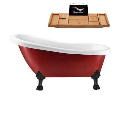 61 in. Acrylic Clawfoot Non-Whirlpool Bathtub in Red