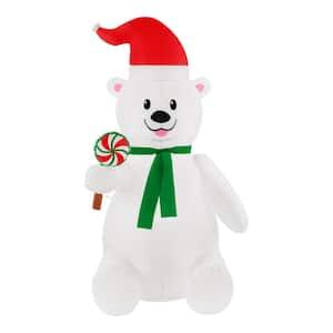 6 ft Pre-Lit LED Airblown Polar Bear with Lollipop Christmas Inflatable