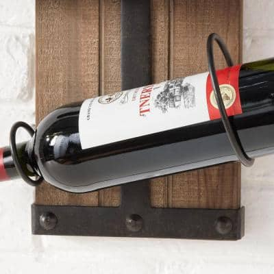 StyleWell 4-Bottle Black and Natural Wood Vertical Wall Mounted Wine Rack